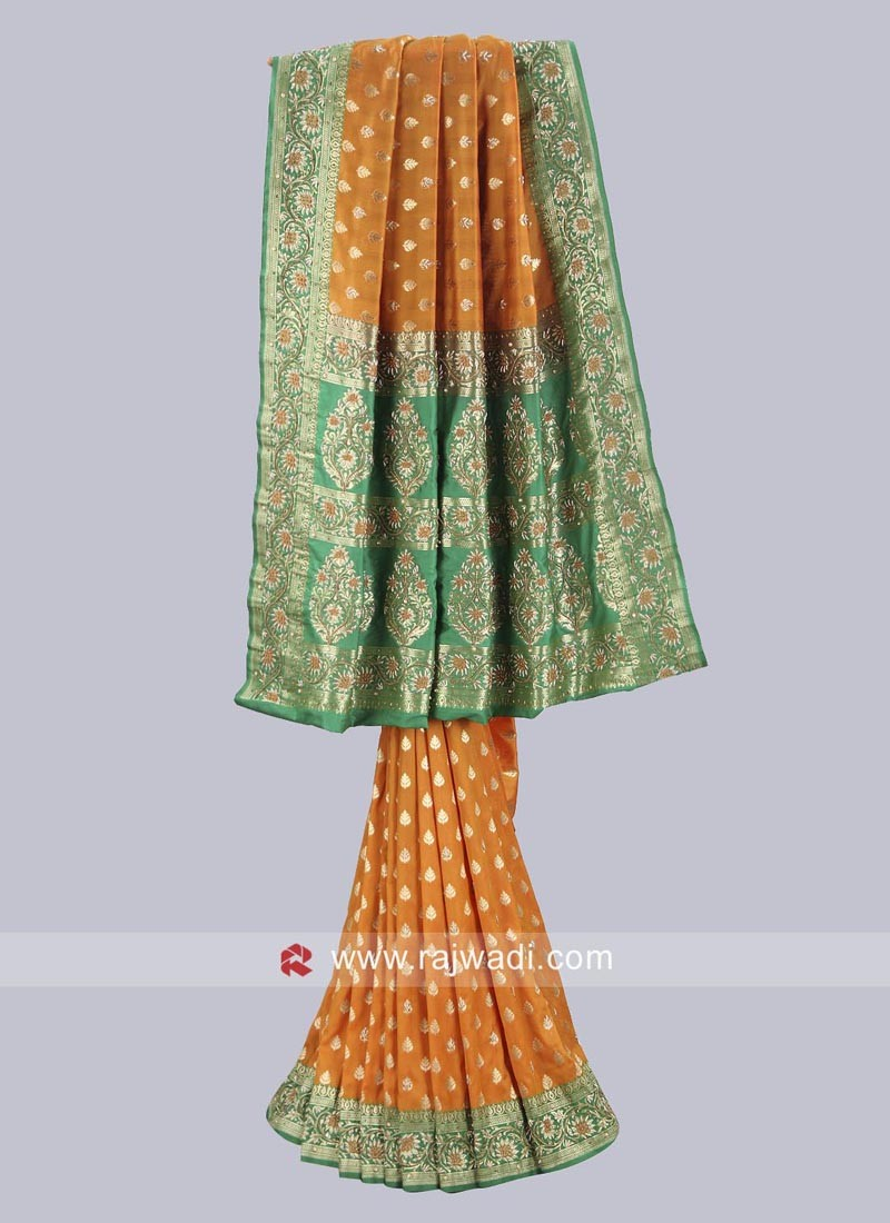 Green and Yellow Embroidered Saree
