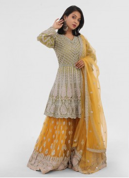 Green And Yellow Net Gharara Suit