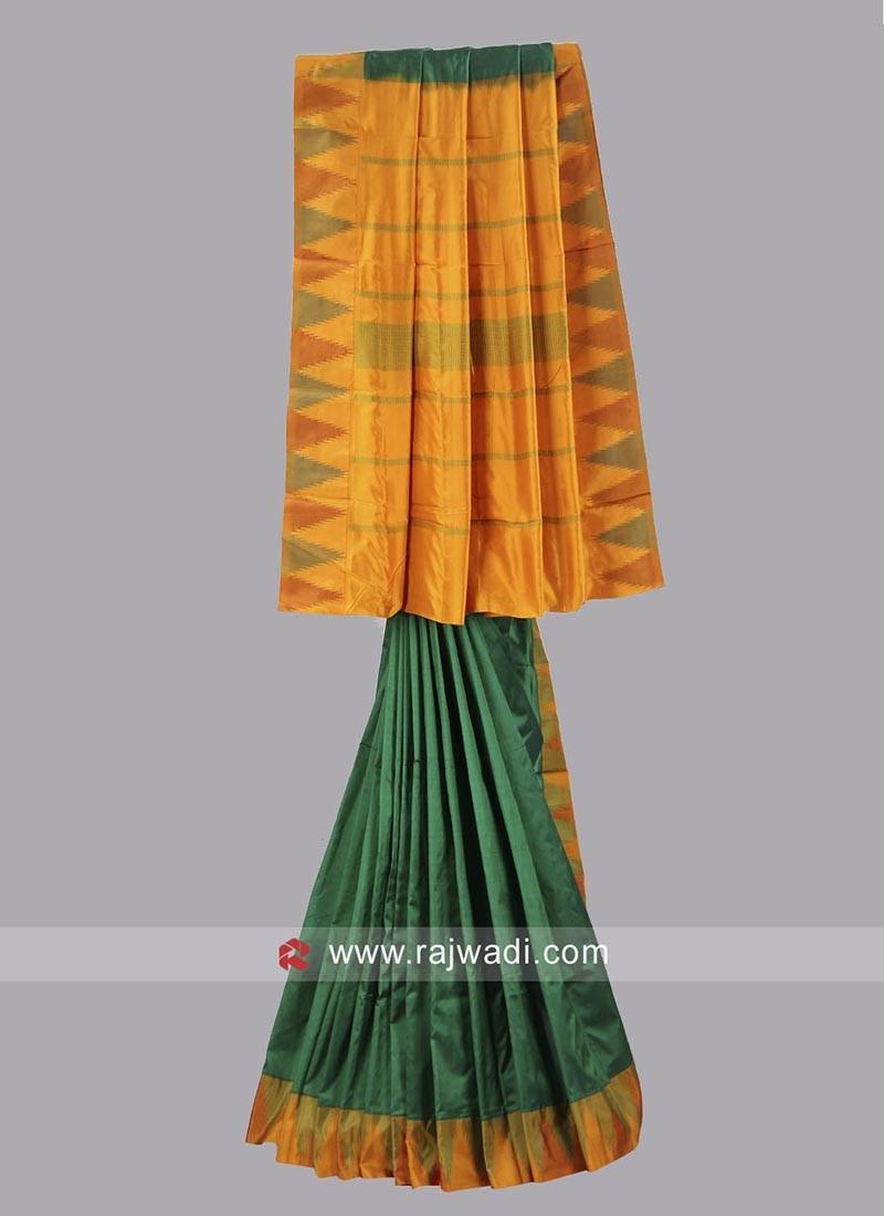 Green and Yellow Wedding Saree