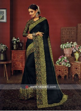 Green Art Silk Border Work Saree