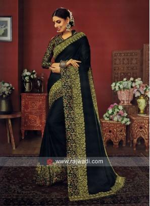 Green Art Silk Border Work Saree