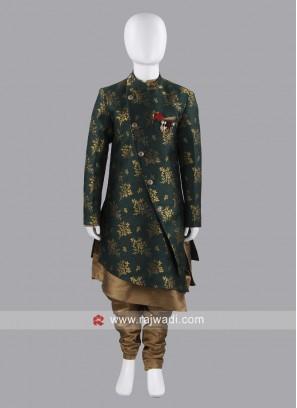 Green Art Silk Indo Western For Boys