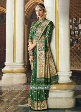 Green Art Silk Saree For Wedding