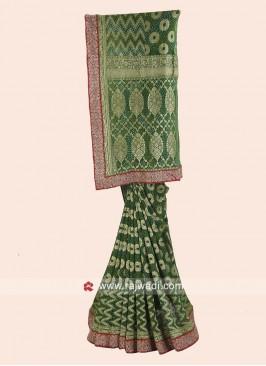 Green Banarasi Chiffon Designer Saree