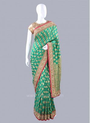 Green Banarasi Chiffon Saree with Blouse