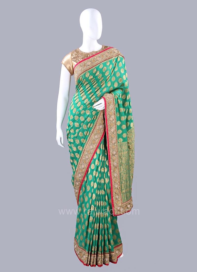 Green Banarasi Chiffon Saree with Blouse