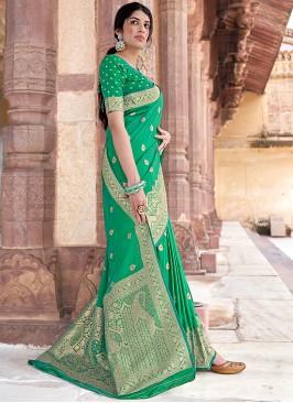Green Banarasi Silk Festival Designer Traditional Saree
