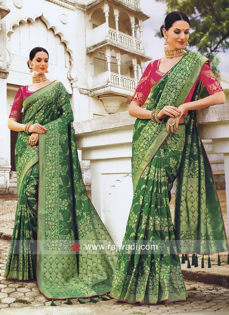 Green Banarasi Silk Heavy Saree