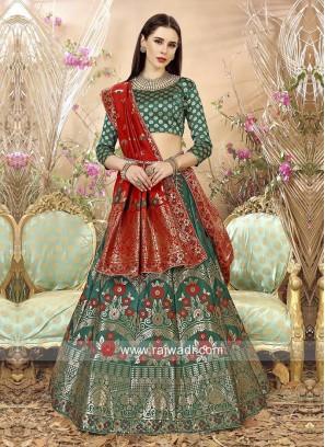 Green Banarasi Silk Lehenga Set