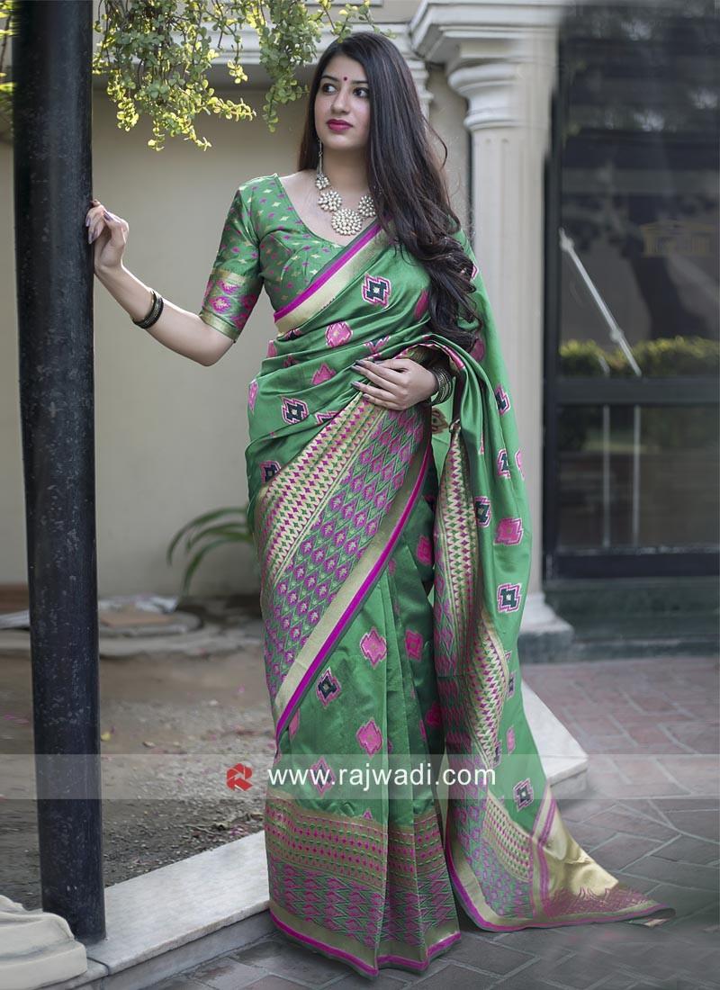 Green Banarasi Silk Sari