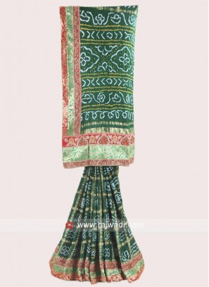 Green Bandhani Saree with blouse
