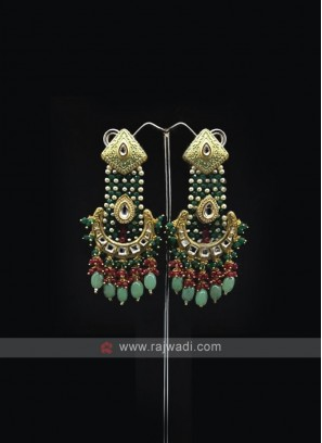 Green Beaded Long Earring