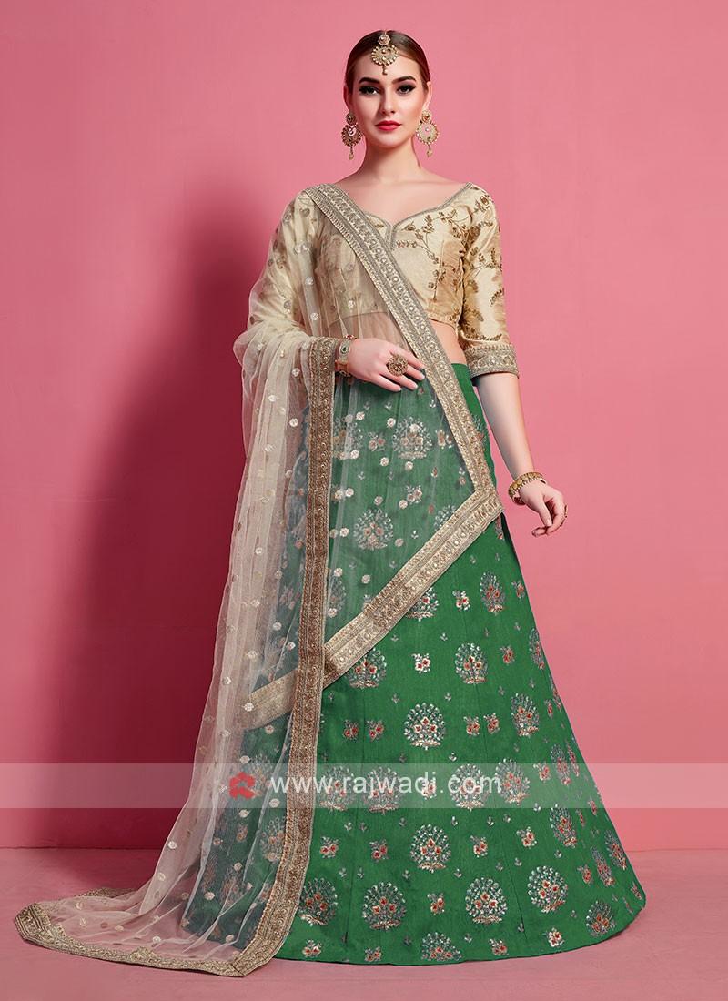 Green & Beige Color Lehenga Choli