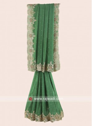 Green Border Work Saree