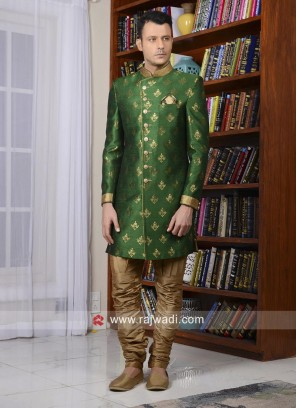 Green Brocade Silk Indo Western