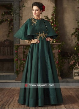 Green Cape Style Pleated Gown
