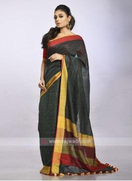 green checks causal saree