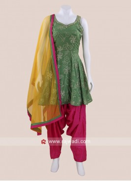 Green Chiffon Patiala Salwar Kameez