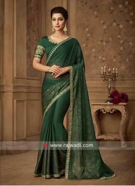 Green Chiffon Silk Foil Print Saree