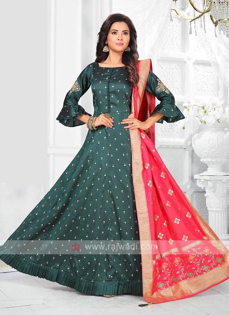 Green Color Anarkali Suit with dupatta