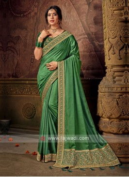 Green Color Art Silk Saree For Wedding