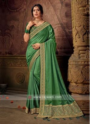 Green Color Art Silk Saree For Wedding