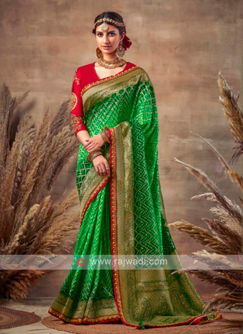 Green Color Bandhani Saree