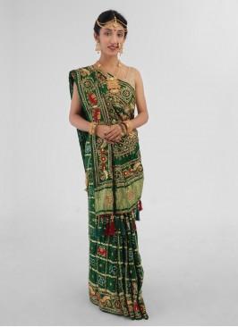Green Color Bridal Gharchola In Gajji Silk