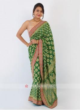 Green Color Bandhani Chiffon Saree