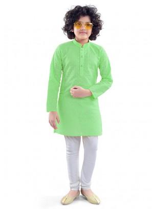 Green Color Chikan Cotton Kurta Pajama