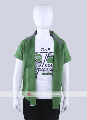 Green Color Cotton Shirt