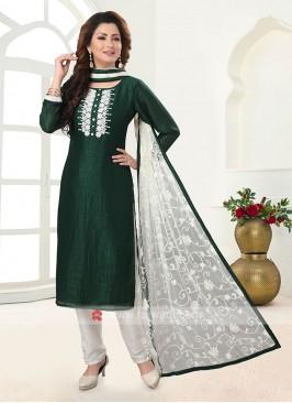 Green Color Cotton Silk Trouser Suit