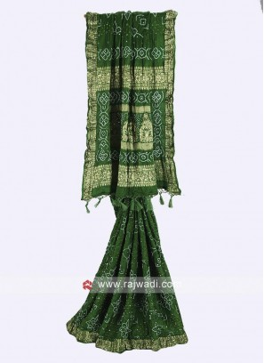 Green color gajji silk bandhani saree