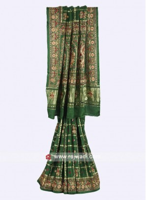 Green color gajji silk gharchola saree