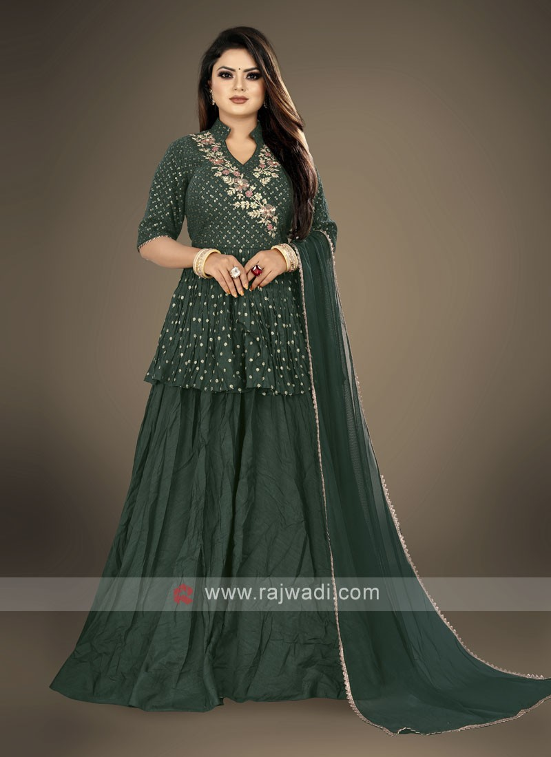 Green color Gharara Suit with dupatta