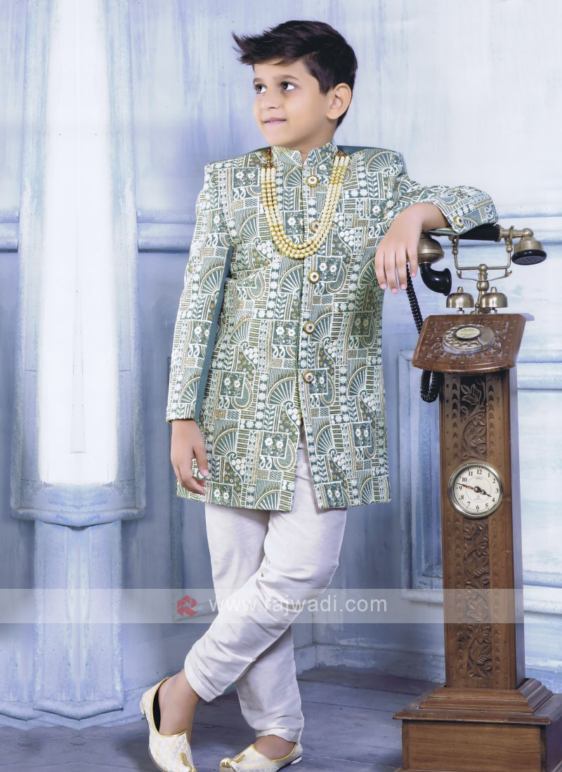 Green Color Indo Western for Boys