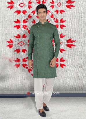 Green Color Pathani Set