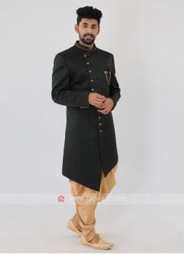 Green Color Mens Indo-Western