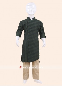 Green Color Pathani Set For Kids