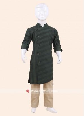 Green Color Pathani Set For Kids