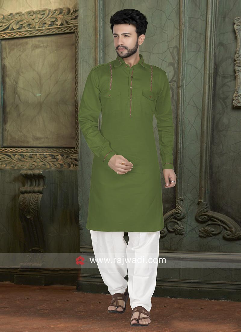 Green Color Pathani Suit