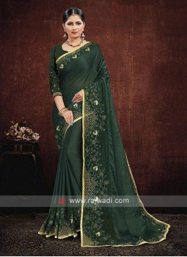 Green Color Satin Georgette Saree