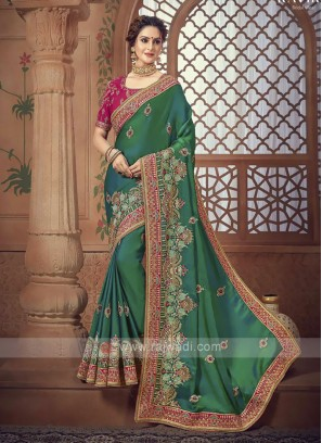 Green Color Satin Silk Saree For Wedding