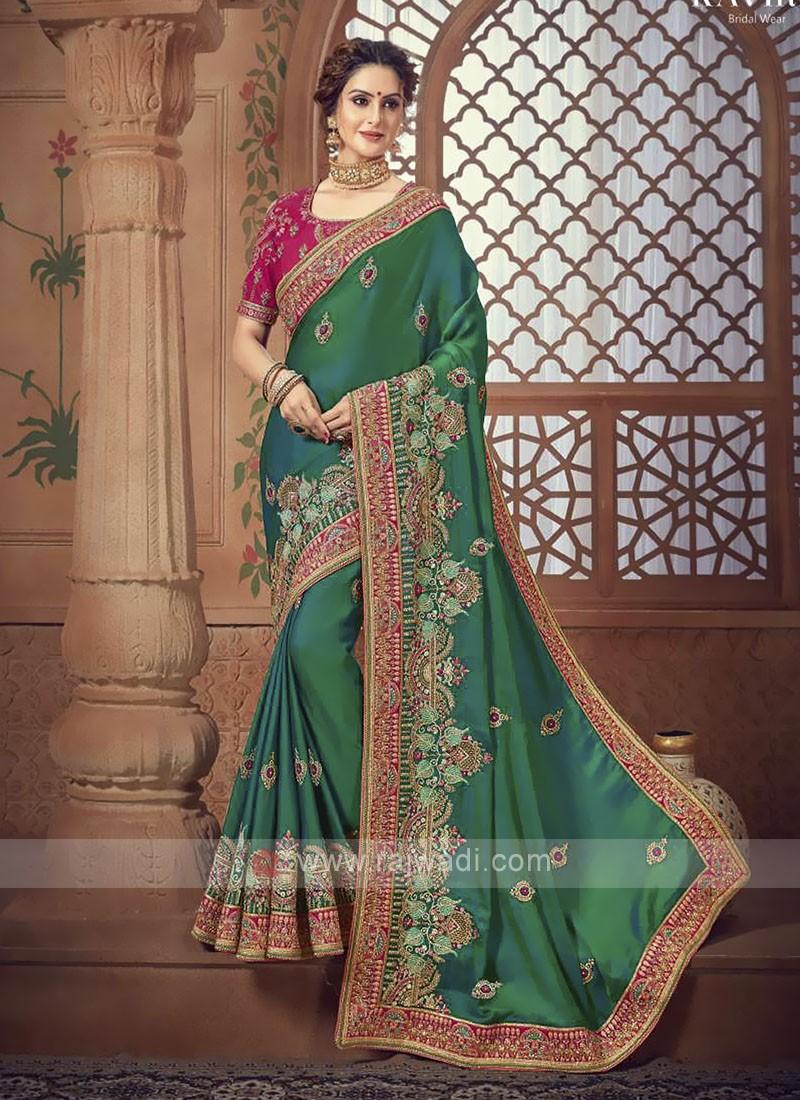 Green Color Satin Silk Saree For Wedding