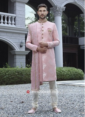Pink Art Silk Sherwani With Designer Dupatta