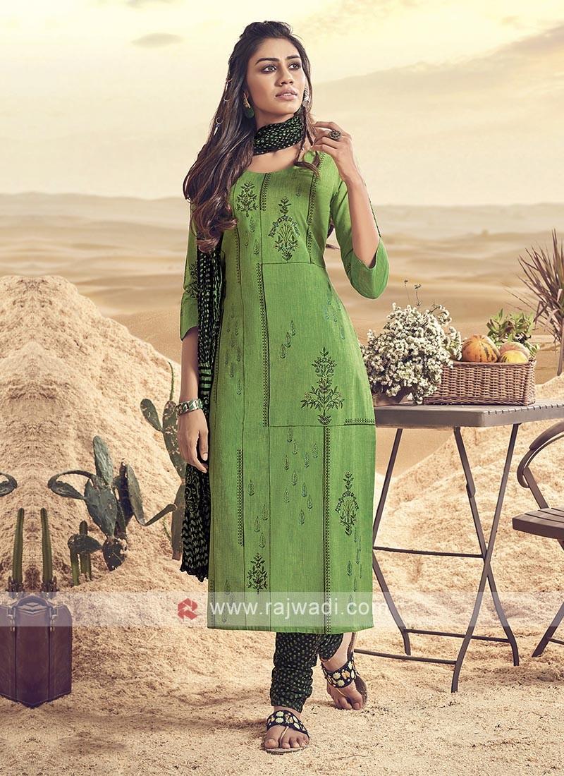 Shagufta Green Cotton Churidar Salwar Suit