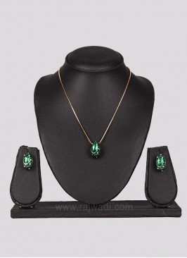 Green Diamond Pendant Set with Earrings