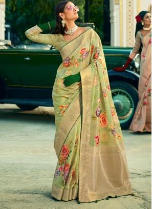 Green Digital Print Silk Classic Designer Saree