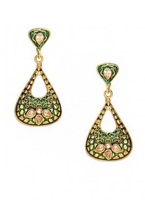 Green Emboss Hearty Earrings