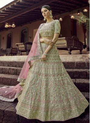 Green Embroidered Engagement Lehenga Choli
